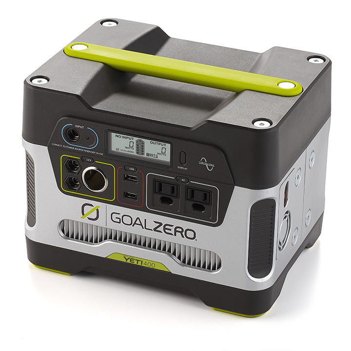 Chargeable battery pack cube in black, silver, and green