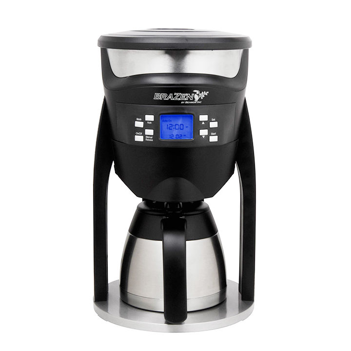 Black and silver coffee maker
