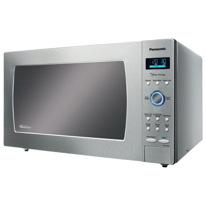 Silver microwave with touch screen