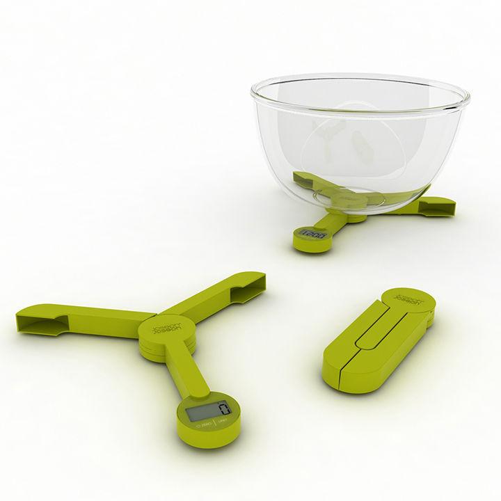 Folding digital scale in green