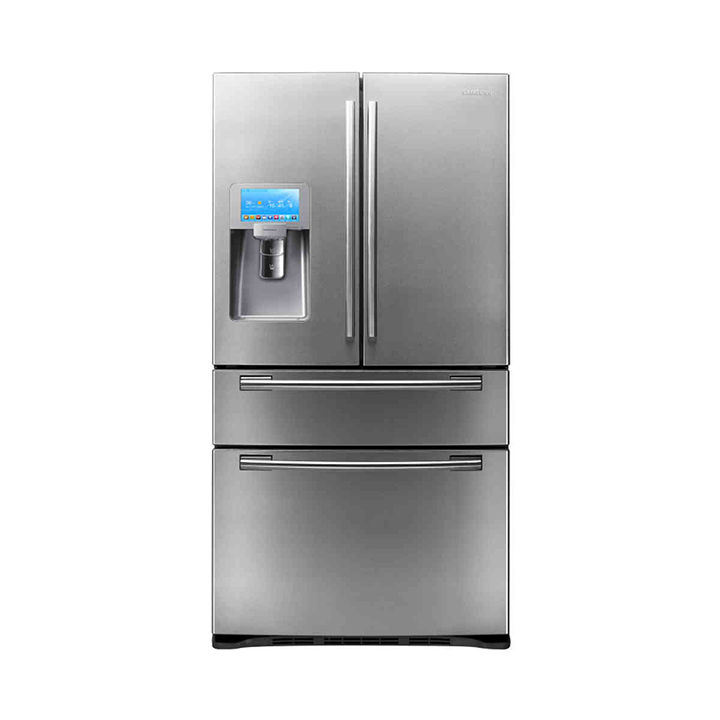 Silver refrigerator with touch screen and SodaStream dispenser