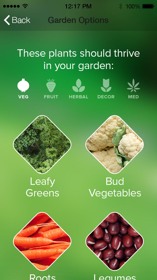 Gardening app with suggested plants