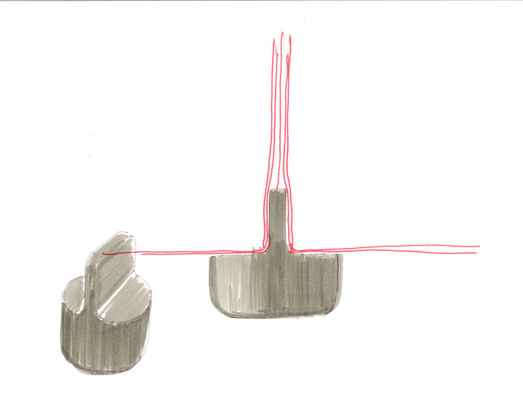 Sketch of Barber Osgerby for Knoll sofa foot