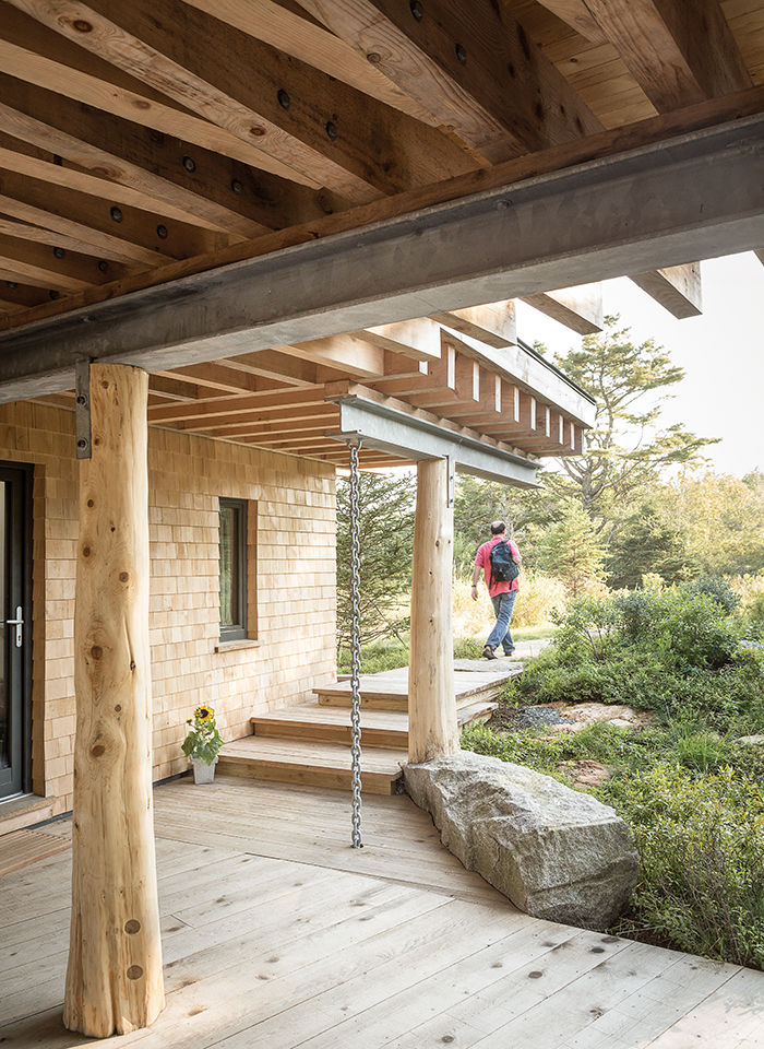 Maine exterior porch with angled beams