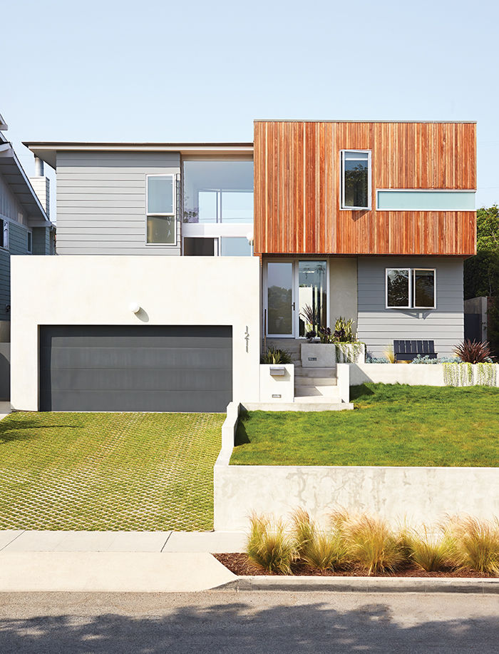 California house facade with rectangular forms and wood siding
