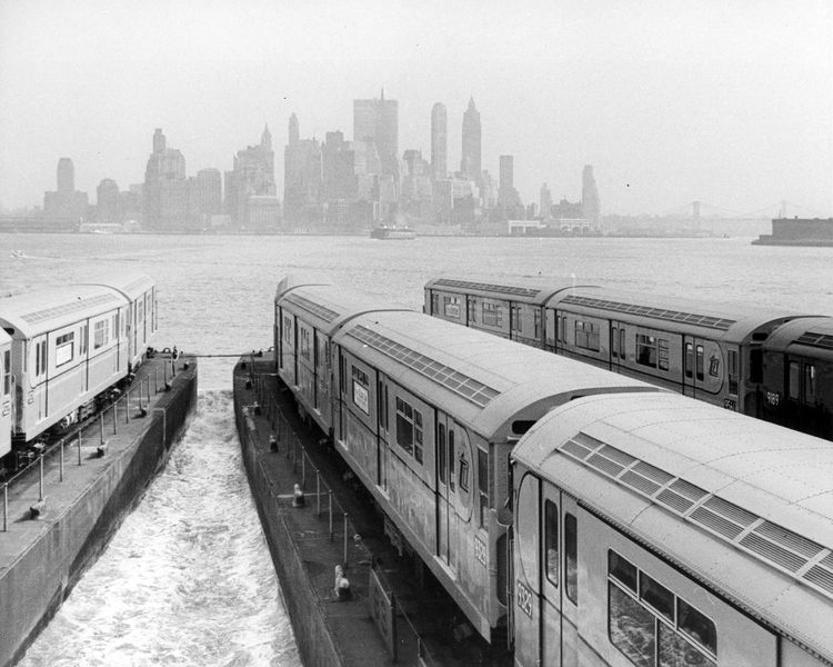 New subway cars being transported to NYC
