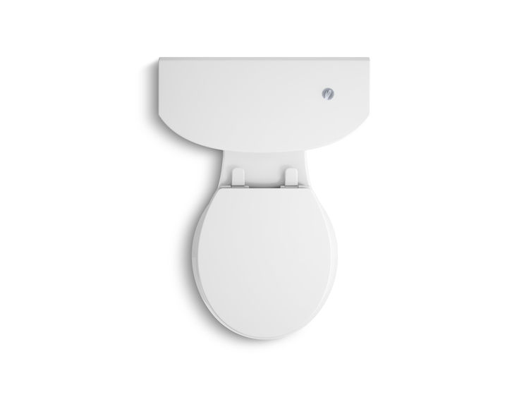 The top of a white toilet with a touchless flush sensor.