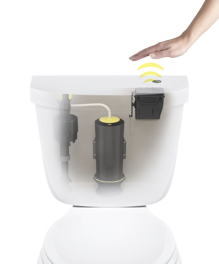 A white toilet with a touchless flush kit that senses your hand.