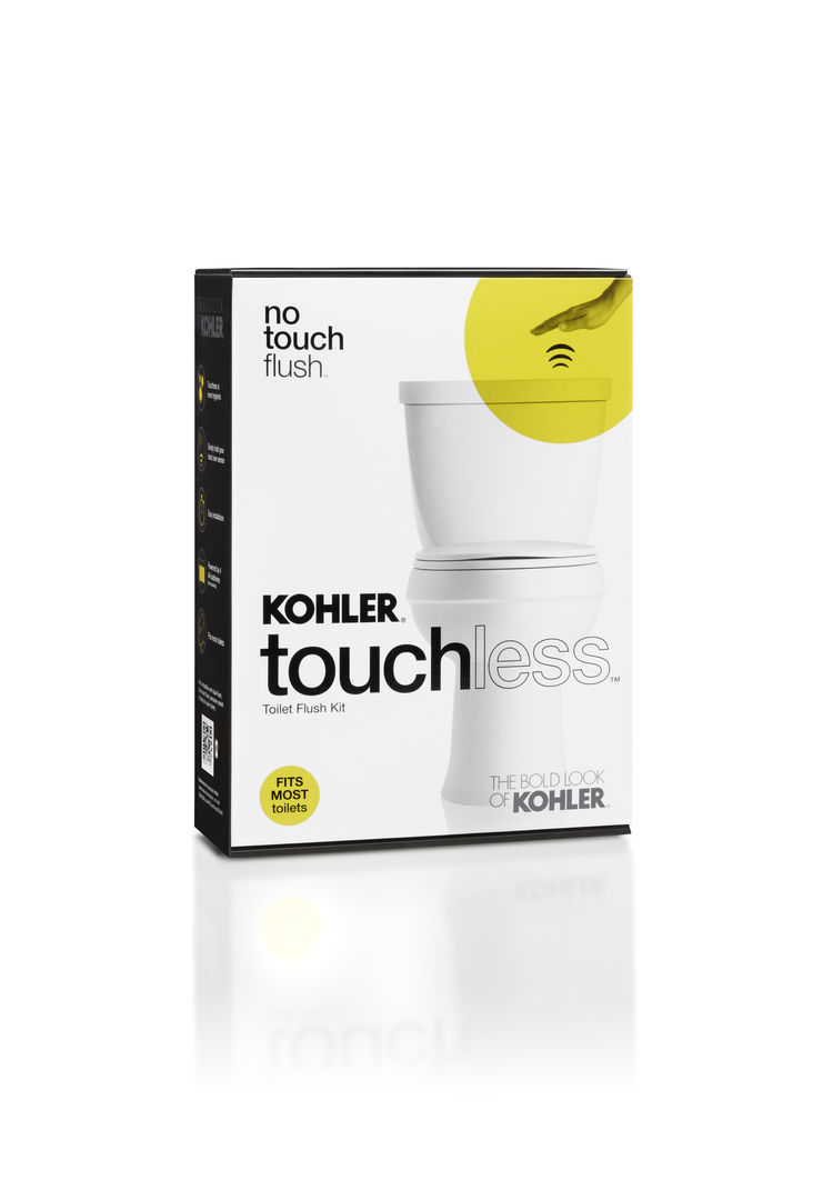 Kohler touchless flush toilet kit in package.