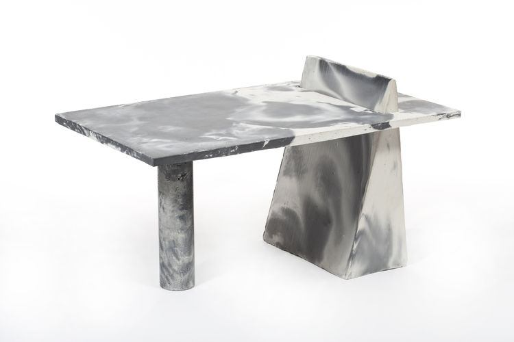 Geometric, cement table by Brooklyn designer Misha Kahn