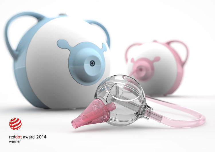 Nosiboo babycare nasal aspirator in pink and blue.