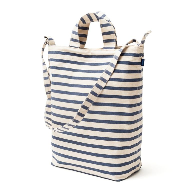 Navy and white striped tote bag