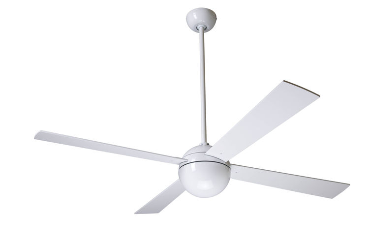 Refined pendulum style ceiling fan with four blades