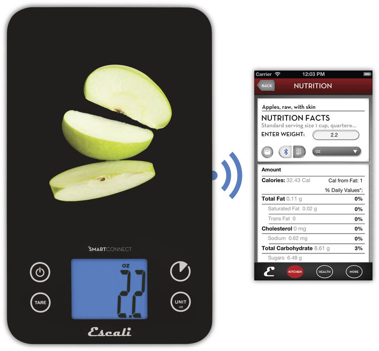 Escali kitchen scale with nutrition facts