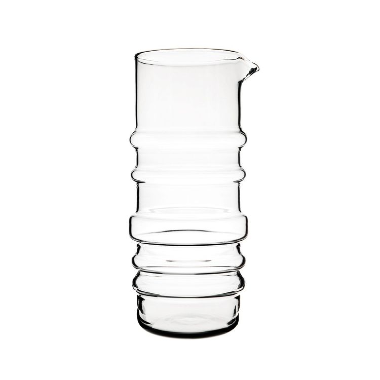 Glass water bottle-inspired pitcher