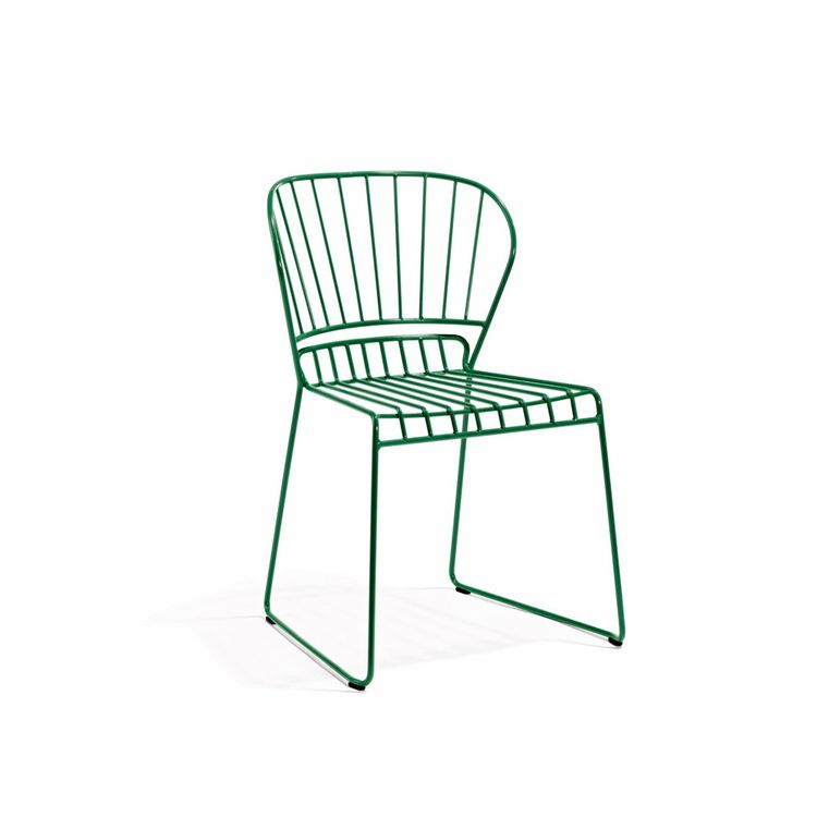Green wireframe dining chair