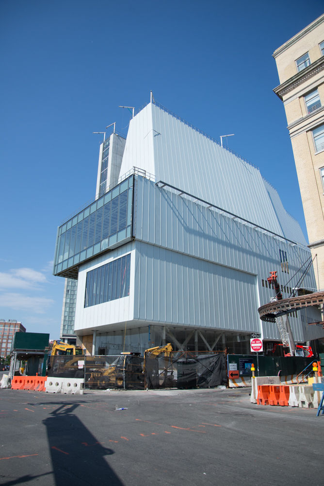 Whitney Museum facade in light blue with large windows