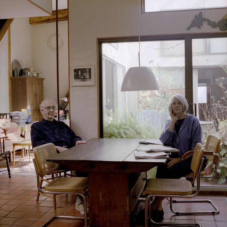 Elderly couple in a Philadelphia home with midcentury furniture