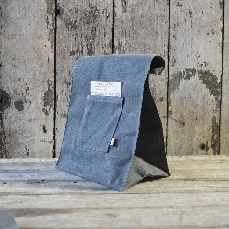 Waxed canvas sustainable lunch bag