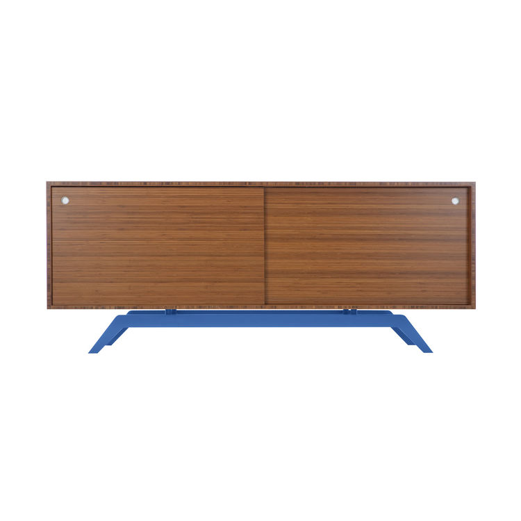 Media credenza or side board made of bamboo with powder coated base