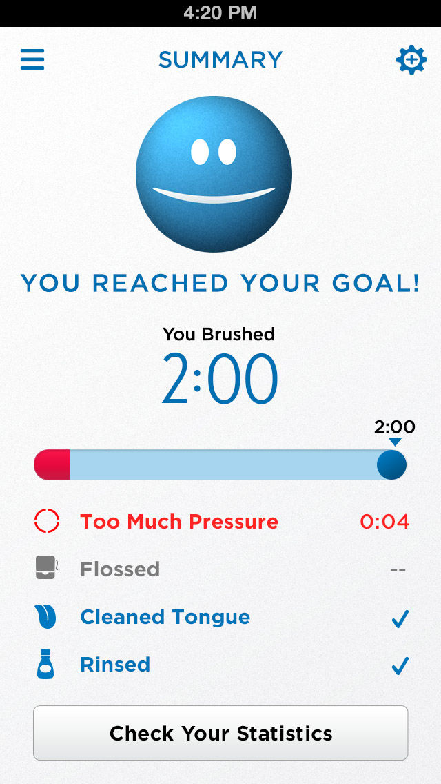 Oral B SmartSeries Toothbrush app with summary.