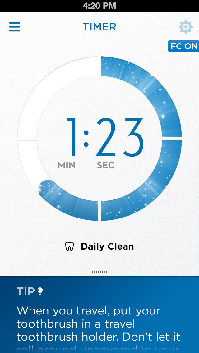 Oral B SmartSeries Toothbrush app with timer.