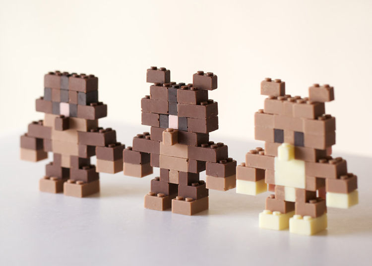 Toy blocks made from chocolate by Akihiro Mizuuchi.