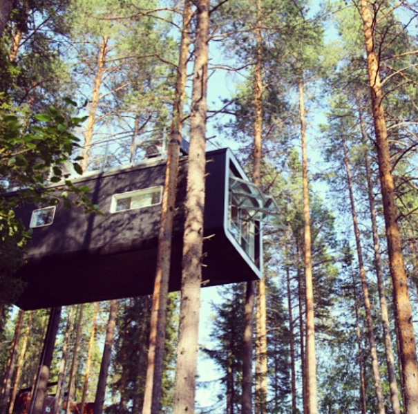 Black modern treehouse suspended in the trees
