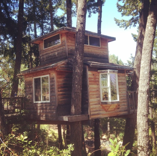 Wooden tree house in Humbolt County, California