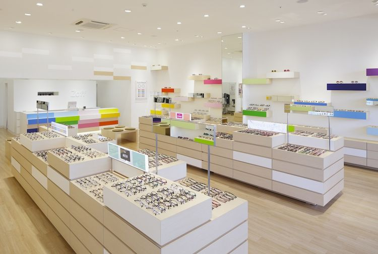 Glasses store with colorful wooden displays