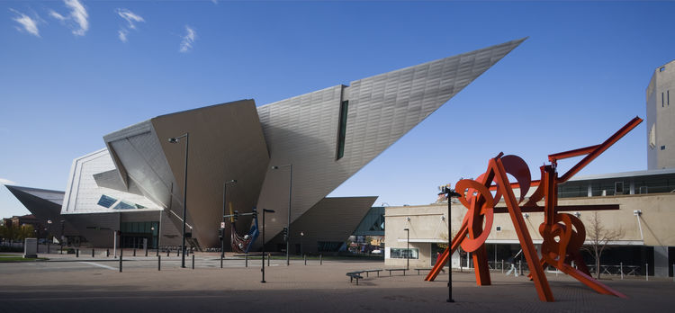 Titanium clad angular extension to the Denver Art Museum