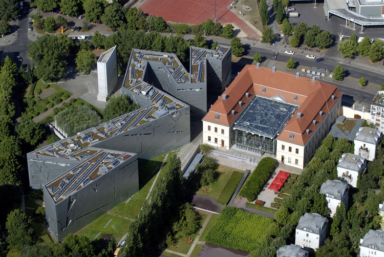 Bird's eye view of angular, meandering Jewish Museum in Berlin