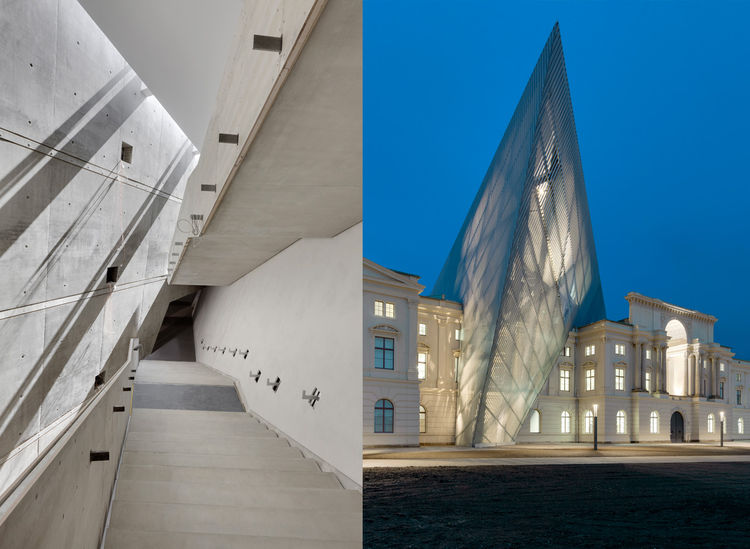 Military history museum in Dresden, Germany with angled facade addition