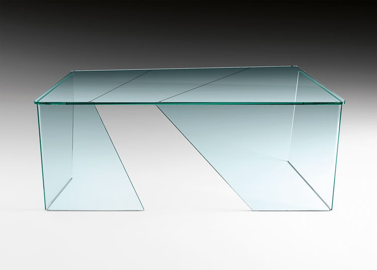 Angular glass table with cut-outs by Daniel Libeskind