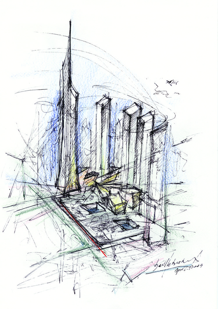 Ground Zero master plan sketch by Daniel Libeskind