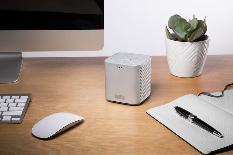 portable wireless cube speaker with a minimalist look