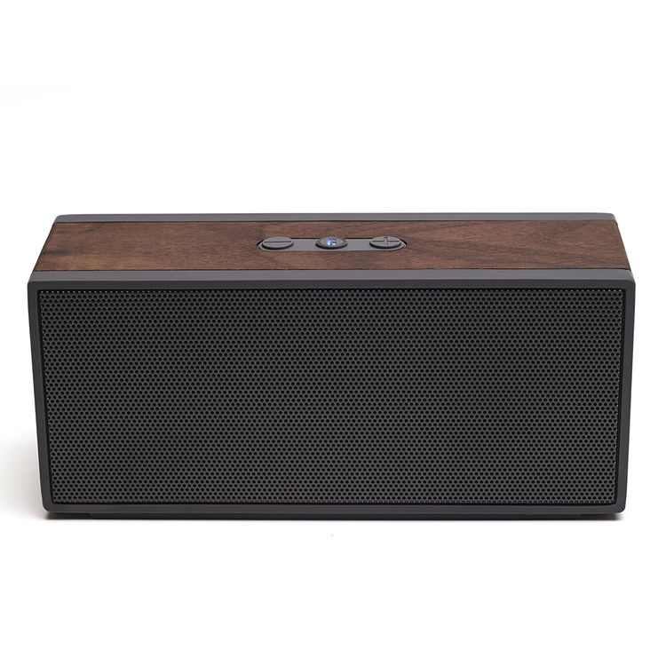Portable bluetooth-enabled speaker with rich wood grain