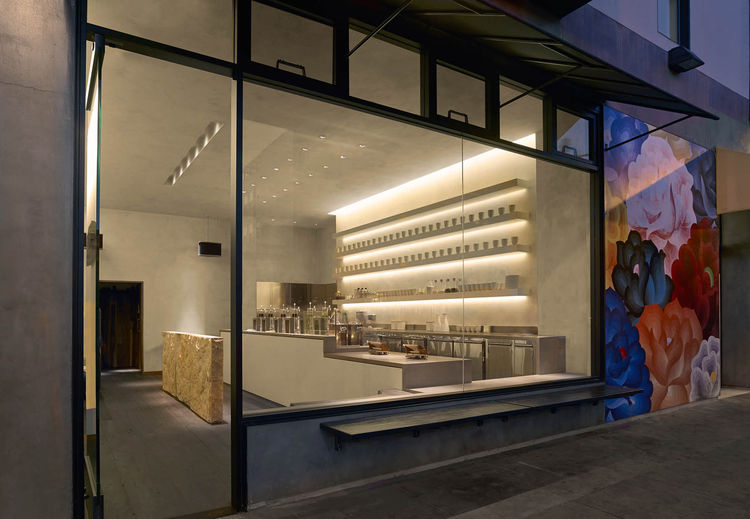 A modern tea shop in San Francisco exterior window with flower mural