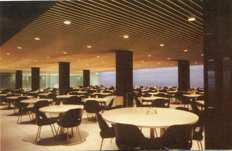 General Motors cafeteria with black columns