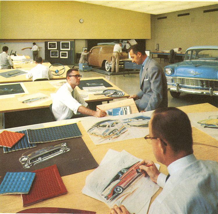 Archival image of the Chevrolet design studio