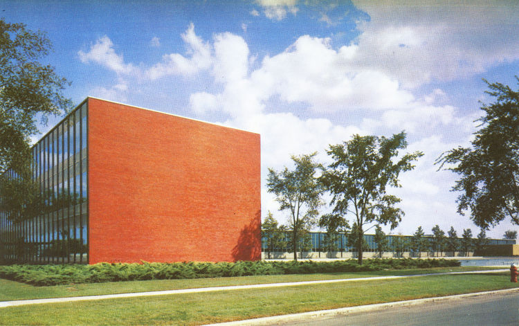 General Motors Technical Center building with orange wall