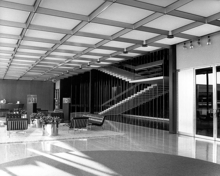 General Motors lobby with suspended stairs
