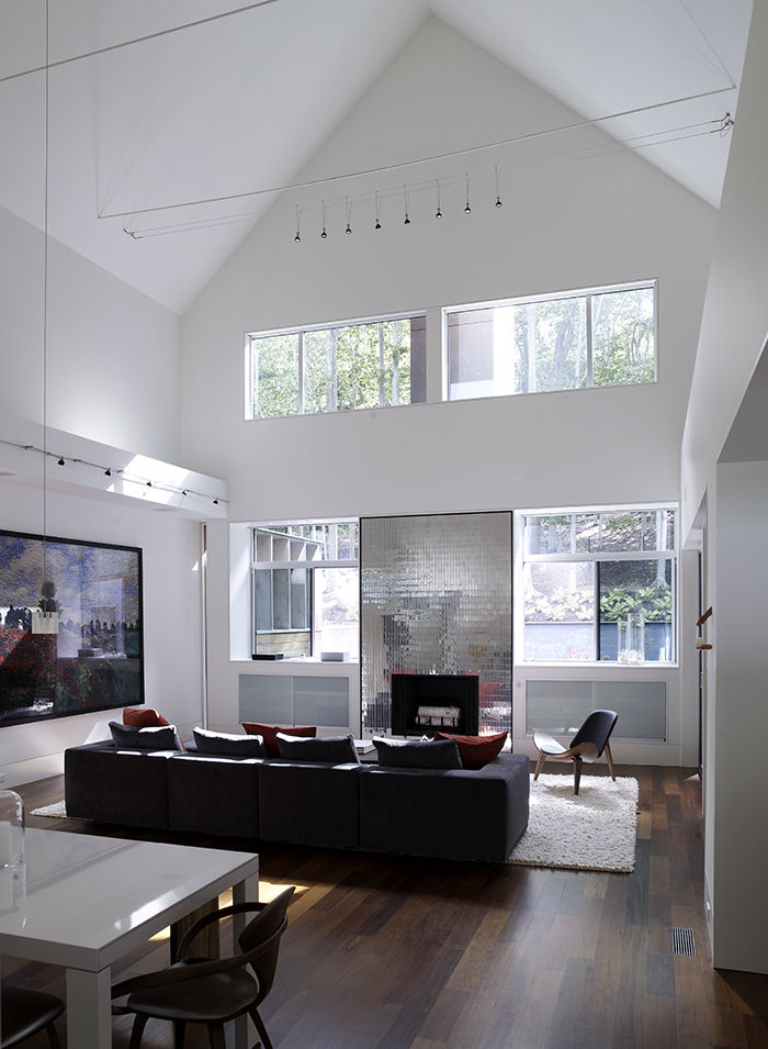 Gabled living room with metallic fireplace