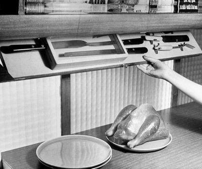 "Life Magazine archive image ""kitchen of tomorrow"" utensil rack"