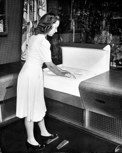 """Life Magazine archive image """"kitchen of tomorrow"""" pedal-controlled sink"""
