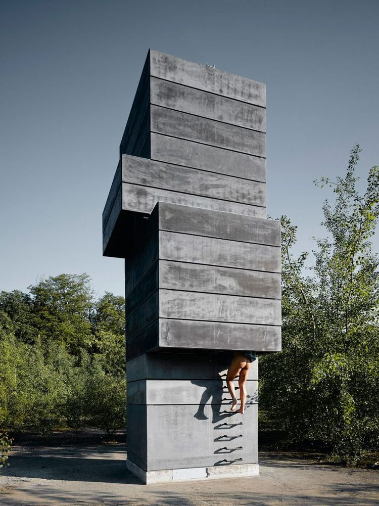 Exterior ladder leads into one-man sauna.