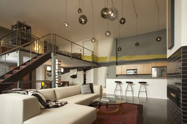 San Francisco loft with double-height ceiling and pendant lights