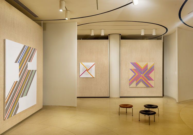 Installation view of Elaine Lustig Cohen survey, on view at Philip Johhnson's Glass House in New Canaan, CT through September 2015.