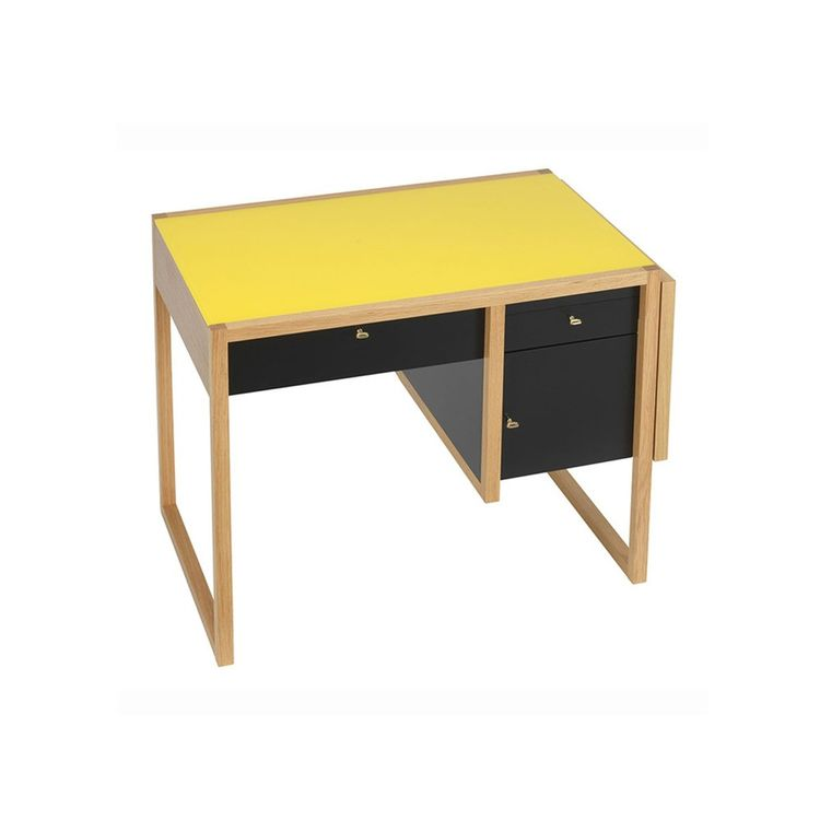 Iconic Albers writing desk with yellow top and black drawers