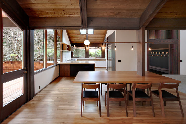Japanese-Inspired Bainbridge Island house dining room and kitchen